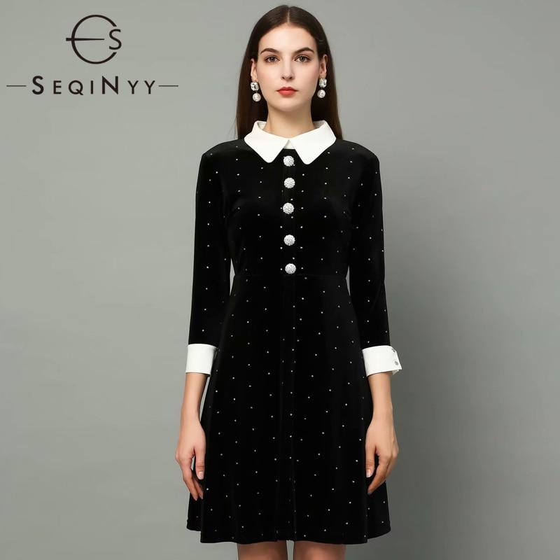 SEQINYY Velvet Dress 2020 Spring Autumn New Fashion Design Women 3/4 Sleeve Crystal Button Slim Bling Mini Black Dress