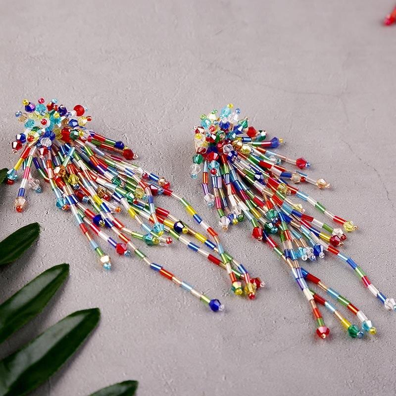 Женские серьги с разноцветными кристаллами Boho, модные серьги-подвески ручной работы с длинными кисточками, эффектные украшения, 2020