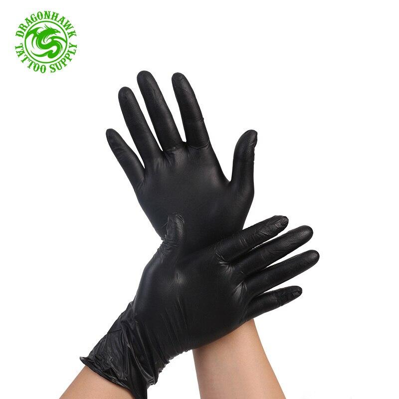 100pcs Disposable Black Nitrile Tattoo Gloves Exam Latex-Free  Large Size  Tattoo Supplies