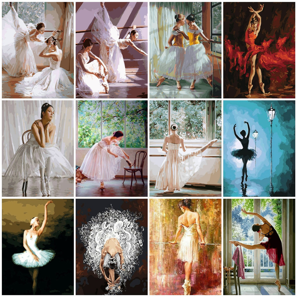 HUACAN Painting By Numbers Ballet Girl Kits Drawing Canvas HandPainted Figure Picture Home Decoration Gift Art DIY