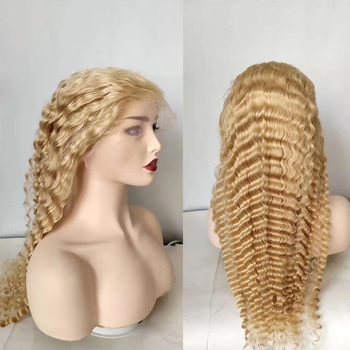 613 deep wave  lace front human hair wig 13x4inch Transparent HD swiss lace preplucked hair wig 150% density remy light blonde