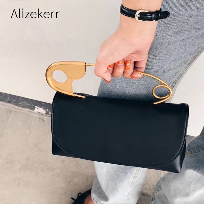 Designer Large Pin Soft Handbag 2020 New Korean Small Square Shoulder Messenger Bag Ladies Personality Chic Black Purse Fashion