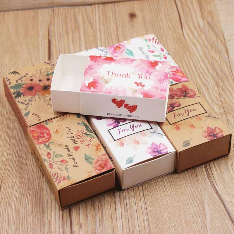 8.4*5.8*3cm Thank You /handmade With Love New Designs Printed Gift Box Diy Handmade Love Wedding Favor Gift Soap Box Baby Shower