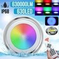 65 Вт RGB Светодиодная лампа для бассейна водонепроницаемый IP68 подводный прожектор дистанционное управление пруд огни DC12V 630SMD фонтанное осве...
