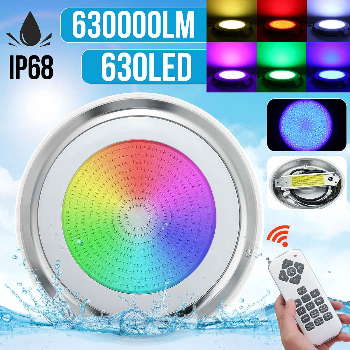 65W RGB Swimming Pool LED Lamp Waterproof IP68 Underwater Spotlight Remote Control Pond Lights DC12V 630SMD Fountain Lighting
