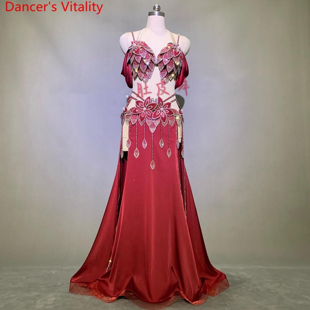 Customized Belly Dance Performance Costume Diamond Bra Sexy Split Skirt Set Opening Dance Oriental Indian Drum Dancing Stage Wea