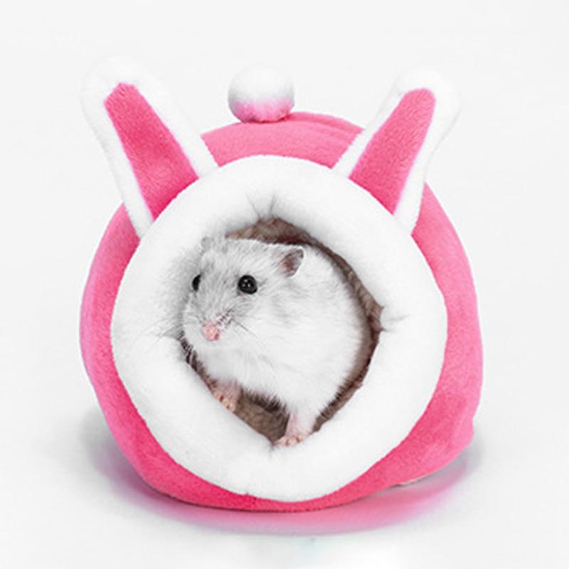 Small Pet Cute Soft Plush Nest Pet Bedroom Hamster Hedgehog Yurt Bed Warm Winter Soft Hamster Cave Pet Supplies