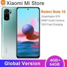 Versión Global Xiaomi Redmi Nota 10 Smartphone 4GB RAM 64GB ROM Snapdragon 678 Octa Core 6,43