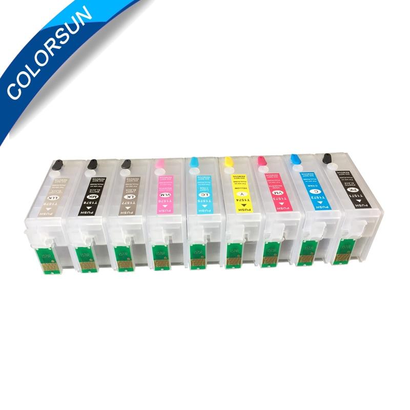 9 cores recarregaveis cartucho de tinta para epson surecolor p600 sc p600 impressora com chips de