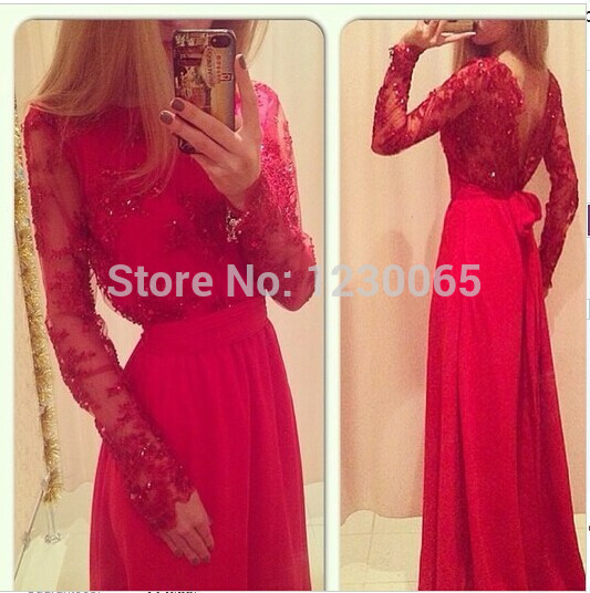 Real Sample Red Lace Beads Elegant Backless Women Winter Long Sleeve Floor Length Gown Prom Chiffon 2018 Bow Bridesmaid Dresses