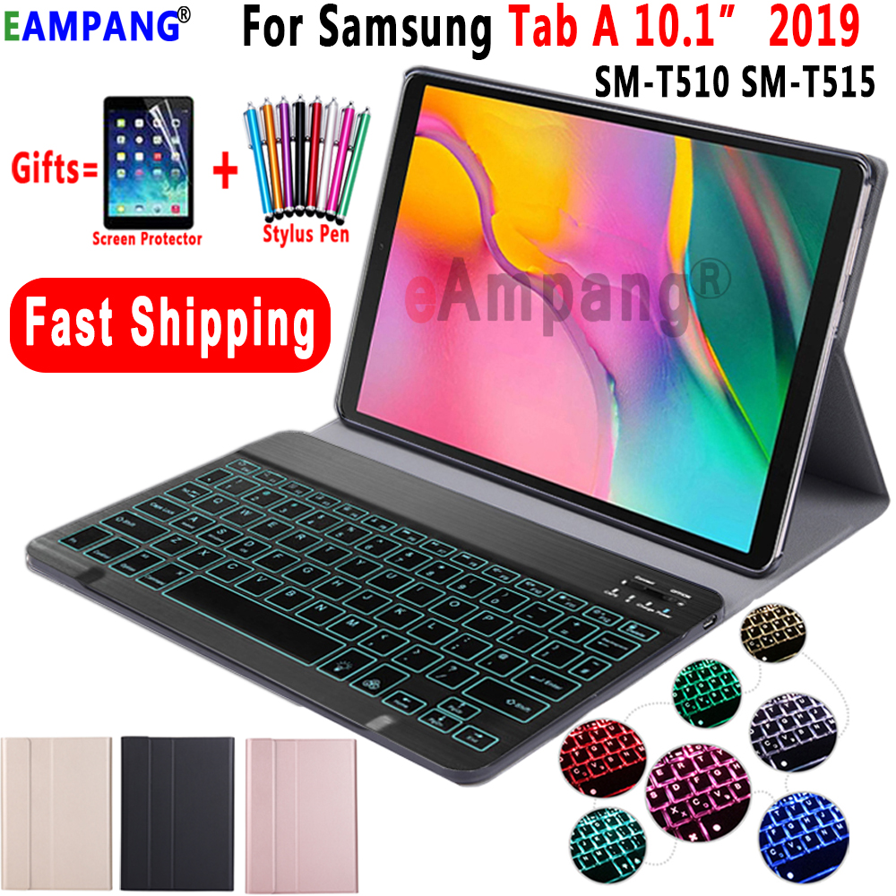 Case For Samsung Galaxy Tab A 10.1 2019 Keyboard Case T510 T515 SM-T510 SM-T515 Leather Cover 7Colors Backlit Bluetooth Keyboard