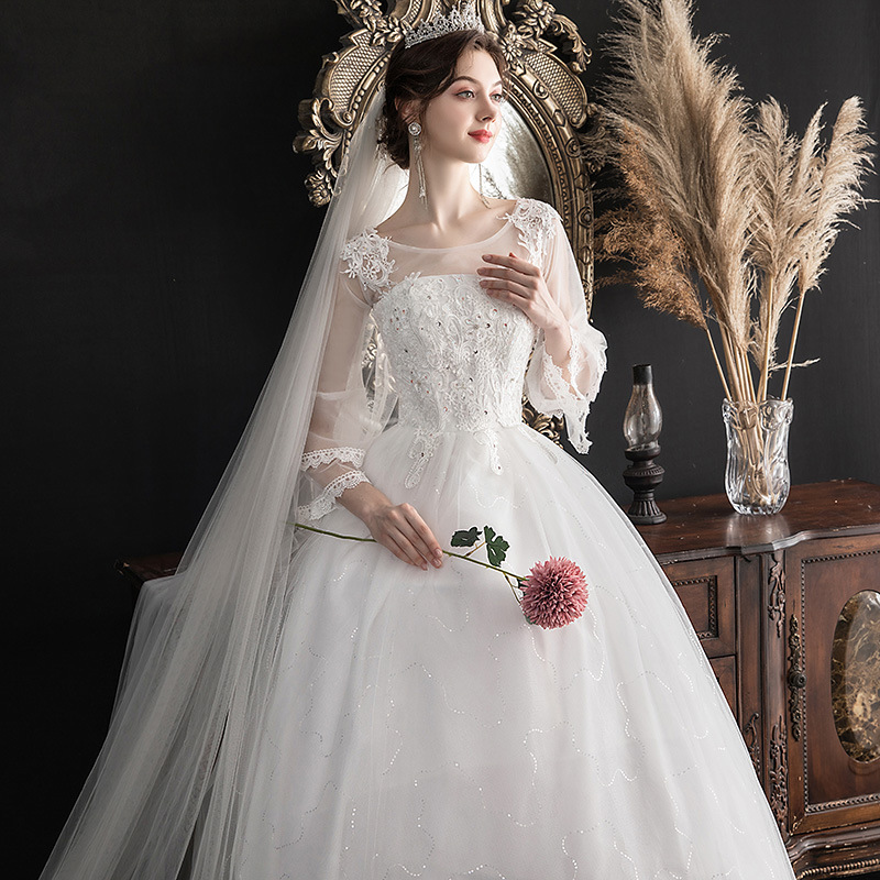 Vestido Cocktail Dress 2020 New Words In The Shoulder Sleeve Korean Bride Marriage Yarn Thin Neat, Big Yards Of Pregnant Women
