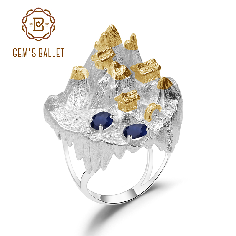GEM'S BALLET 925 Sterling Silver Temple Mountain Natural Blue Sapphire Handmade Gemstone Rings For Women Halloween Horror Story