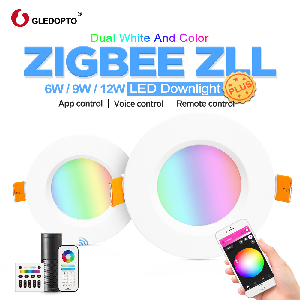 GLEDOPTO zigbee smart downlight plus RGB CCT 6W 9W 12W light  work with zigbee hub echo Voice control wall switch remote  LED