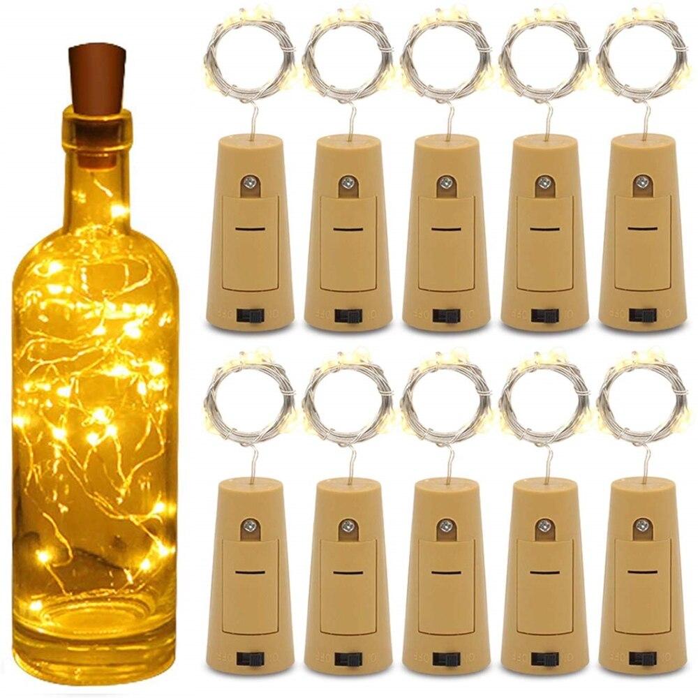 Wine Bottle Cork Lights String 20 LED Bottle Lights Battery Cork For Party Wedding Christmas Halloween Bar Decor Fairy Lights