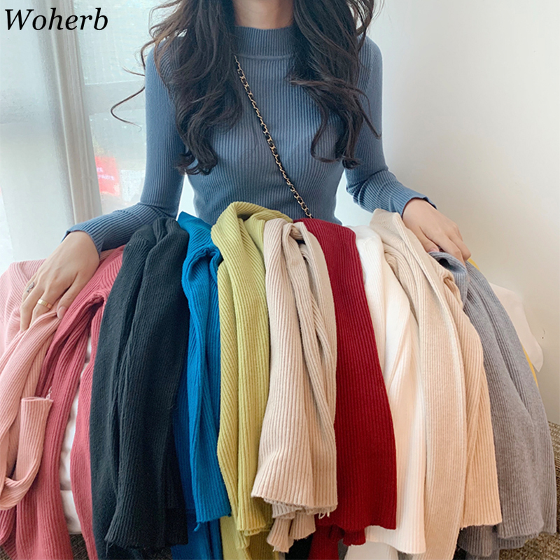 Woherb 2020 New Autumn Winter Half-turtleneck Casual Knitted Sweater Women Slim Stretch Sweaters Solid Pullover Girl Soft Jumper
