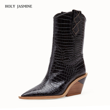 Fashion embossed microfiber leather women ankle boots pointed toe western cowboy mid-calf chunky wedges runway