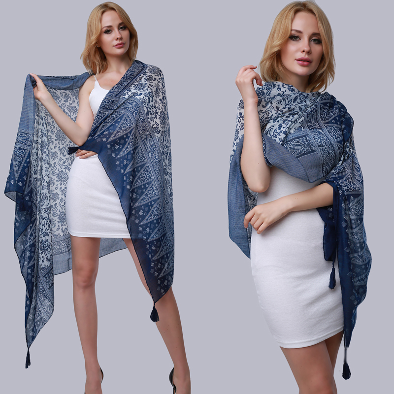 Large Size Summer Pashmina Scarf Women Long Shawl Printed Sexy Beach Cover Up Female Navy Blue Scarves 175*100cm