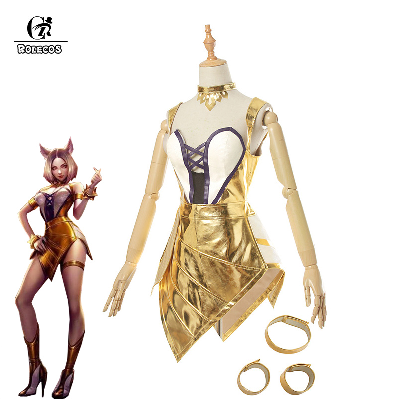 ROLECOS Game LOL KDA Ahri Cosplay Costume LOL K/DA Ahri Dress Prestige Edition Cosplay Costume Golden Sexy Dress for Women