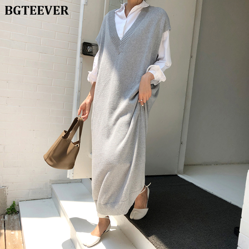 BGTEEVER Chic Casual Winter Oversize Straight Sleeveless Sweater Dress Women Thick Knit Long Dress Female Knitted Vest Dress