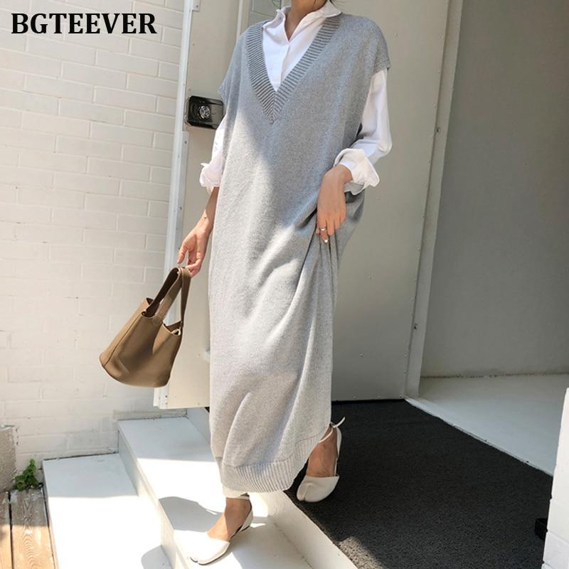 BGTEEVER Chic Casual Winter Oversize Straight Sleeveless Sweater Dress Women Thick Knit Long Dress Female Knitted Vest Dress