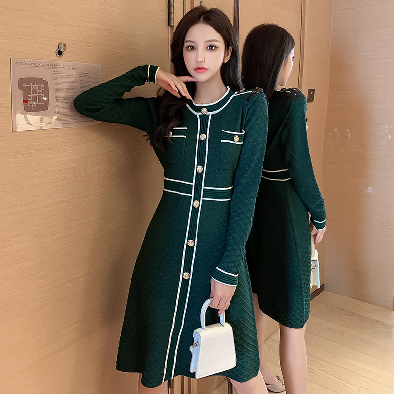 2020 Autumn Winter New O neck and Long Sleeve Knitted Dress Women Slim Waist Button Fashion Bright Shinny Outfit Dresses    - AliExpress