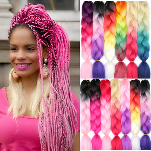 100g 24inch Jumbo Braids Long Strands Ombre Braid Synthetic Braiding Hair Extensions for Woman Blonde Pink