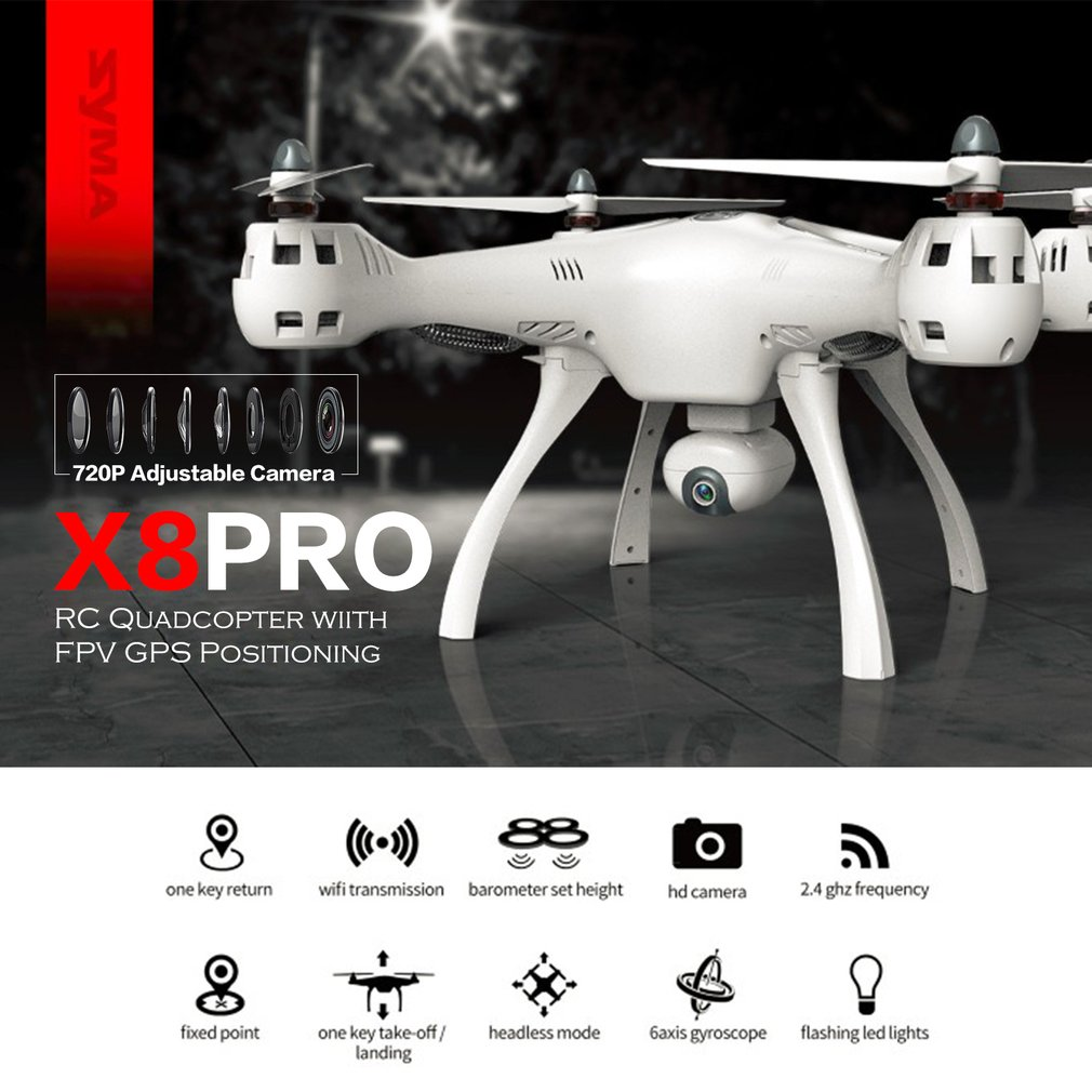 SYMA X8PRO GPS DRON WIFI FPV with with 720P HD Camera Adjustable Camera Drone 6axis Altitude Hold X8 Pro RC Quadcopter RTF MODE2 image