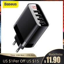 Baseus USB 충전기 6A 빠른 EU 충전기 iPhone11 최대 4 포트 빠른 충전기 삼성 S10 휴대 전화 여행 충전기