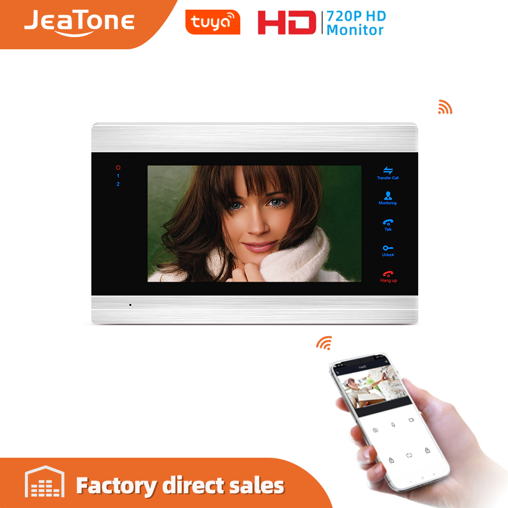 Jeatone 7inch Tuya IP Door Intercom Wifi Video Door Phone Intercom System Video Recording, Support IOS/Android Remote Unlock