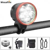 WasaFire 6 *T6 LED Bike Headlight 10000 Lumens Bicycle Light Flashlight + Night Riding Cycling Safety Warning Rear Lamps|  -