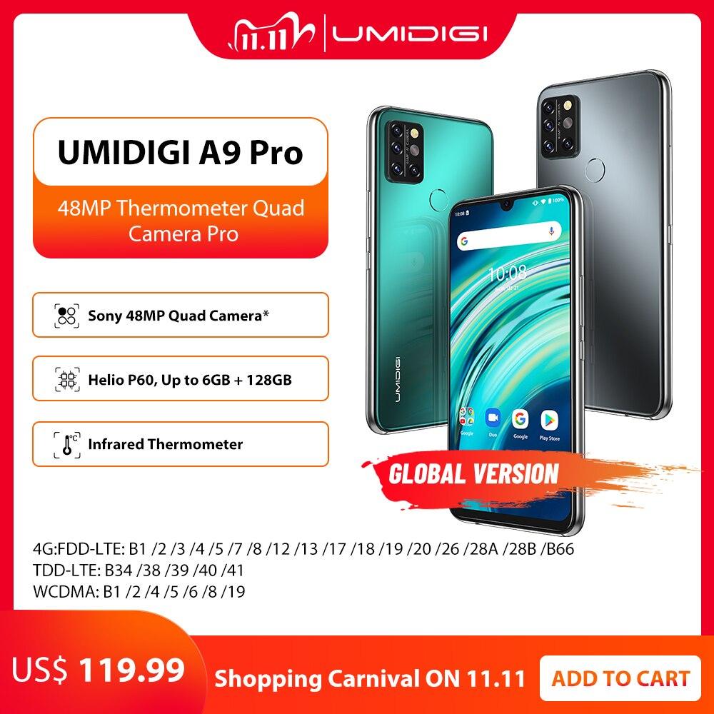 "UMIDIGI A9 Pro SmartPhone Entsperrt 32/48MP Quad Kamera 24MP Selfie Kamera 4GB 64GB/6GB 128GB Helio P60 6.3 ""FHD + Globale Version"
