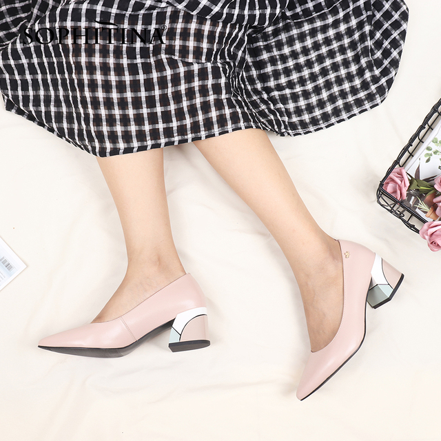 SOPHITINA Brand Pumps High Heels Spring Genuine Leather Basic Pointed Toe Colorful Shoes Square Heels Fashion