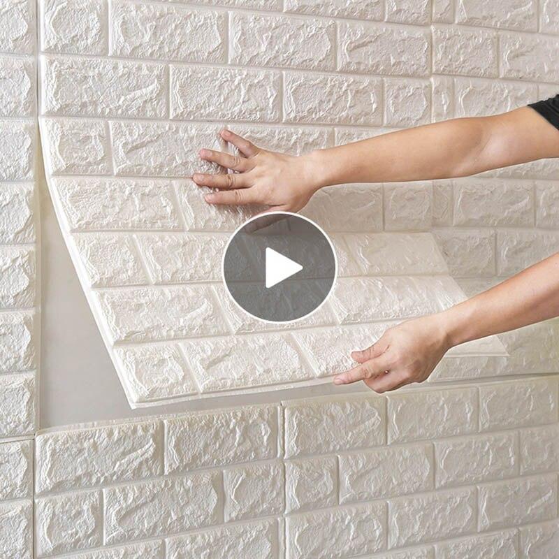 77*70cm DIY PE köpük 3D kendinden yapışkanlı paneller duvar çıkartmaları ev dekor kabartmalı tuğla