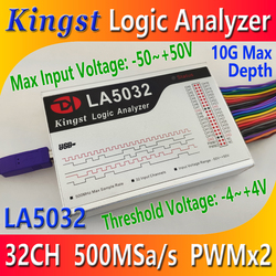 Kingst LA5032 USB Logic Analyzer 500M max sample rate,32 Channels,10B samples, MCU,ARM,FPGA debug tool, English software