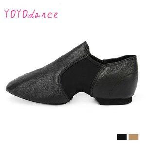 Image 3 - פעוט מקצועי ג אז ריקוד נעלי ילדים להחליק על סניקרס Geniune עור נעל עבור בנות שיזוף שחור נעלי תינוק