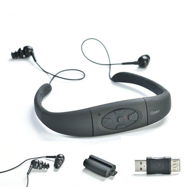 수 중 모션 헤드셋 MP3 음악 플레이어 IPX8 방수 8 기가 바이트 넥 밴드 스테레오 오디오 헤드폰 다이빙 수영장에 대 한 FM