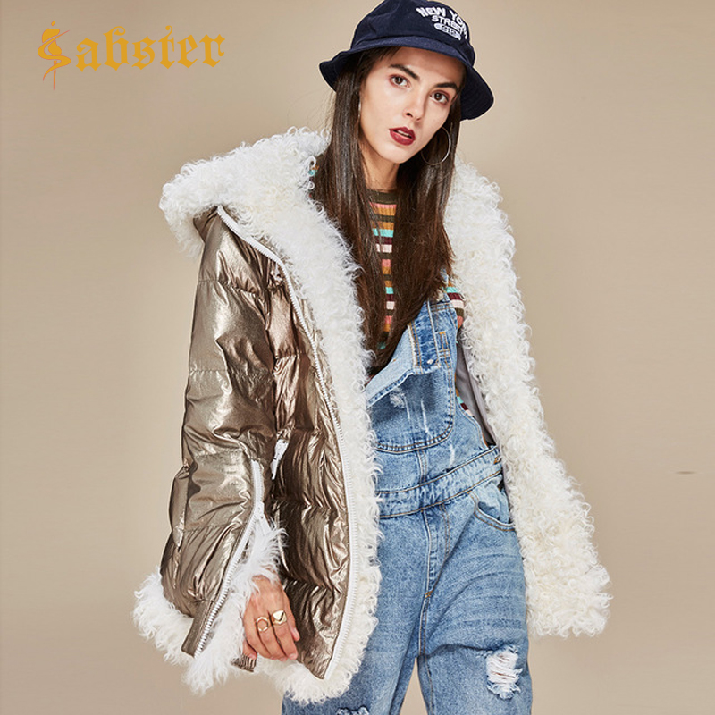 2019 Winter New Silver Women's Down Jacket Cotton Padded Warm Glossy Fur Collar Hooded Woman   Parka   Outerwear XZ551