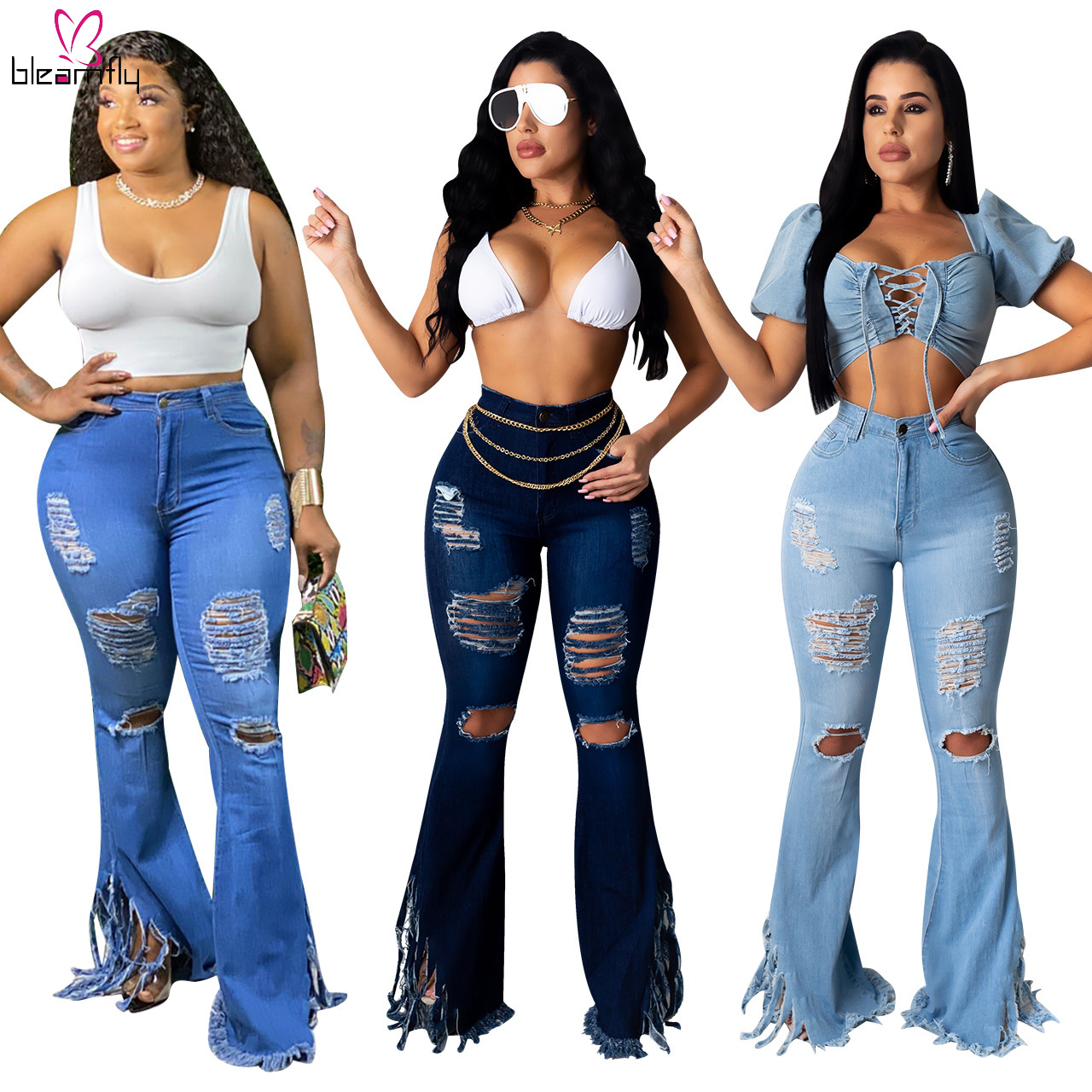 New Ripped Hole Flare Jeans Women Sexy Push Up High Waist Denim ...