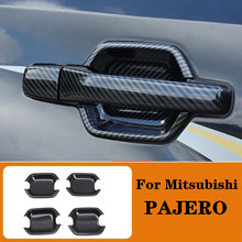 Carbon Fiber Color Door Bowl Handle Lid Accessories Fit  For Mitsubishi PAJERO 2007 2019 2020 Car styling Auto parts
