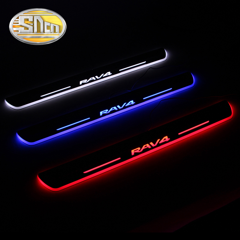 SNCN 4PCS Acrylic Moving LED Welcome Pedal Car Scuff Plate Pedal Door Sill Pathway Light For Toyota RAV4 2009 - 2019 2020