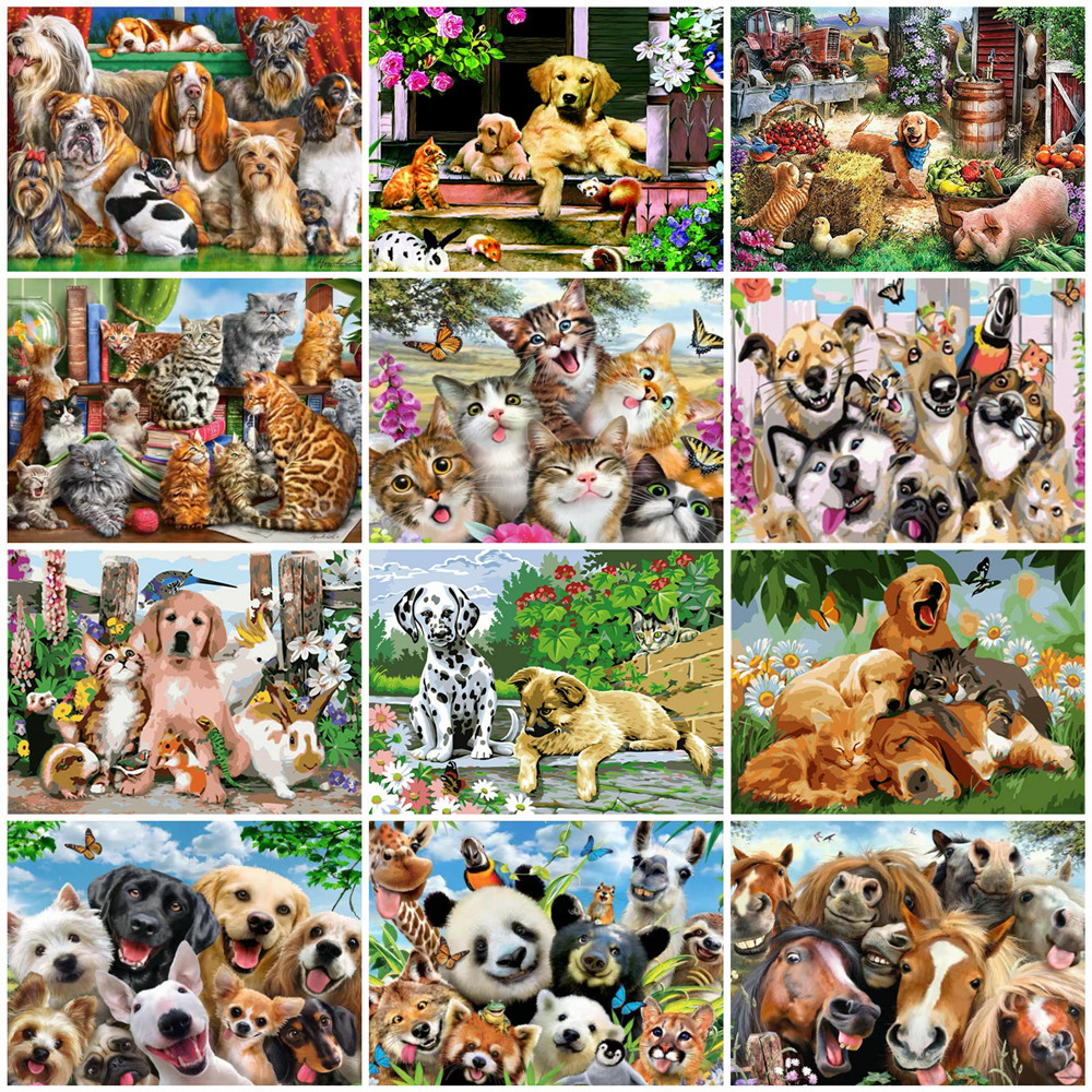 HUACAN Paint By Number Animal Drawing On Canvas Hand Painted Painting Cats Art Gift DIY Coloring By Numbers Dogs Kits Home Decor