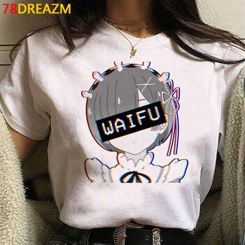 Hot Japanese Anime Re Zero Kara Hajimeru Isekai Seikatsu T Shirt Women Kawaii Rem Ram Graphic Tees Unisex Harajuku Tshirt Female 1