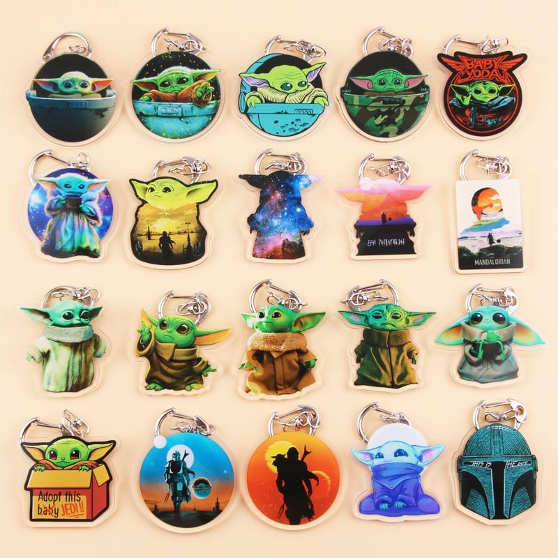 Cute Anime Cartoon Baby Yoda Keychain Two-sided Acrylic Skywalker Key Chain Women And Men Kids Key Ring Gift Porte Clef