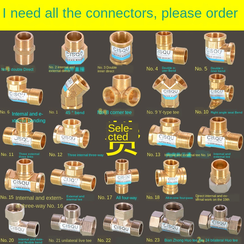 1/2IN Copper Tee Elbow Outer And Inner Wire Joint Double Inner Wire Direct Outer Tooth Four-way Gas Solar Water Pipe Fittings
