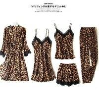 New Sexy Ladies 5 Pieces Pajamas Set Autumn Leopard Print Lace Ice Satin Silk Women Pajamas Set With Chest Pads Home service