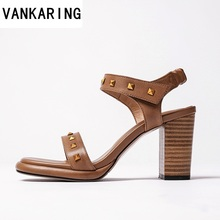 цены black brown sheepskin leather ankle strap high heels open toe sandals women summer gladiator sandals high heel dress shoes woman