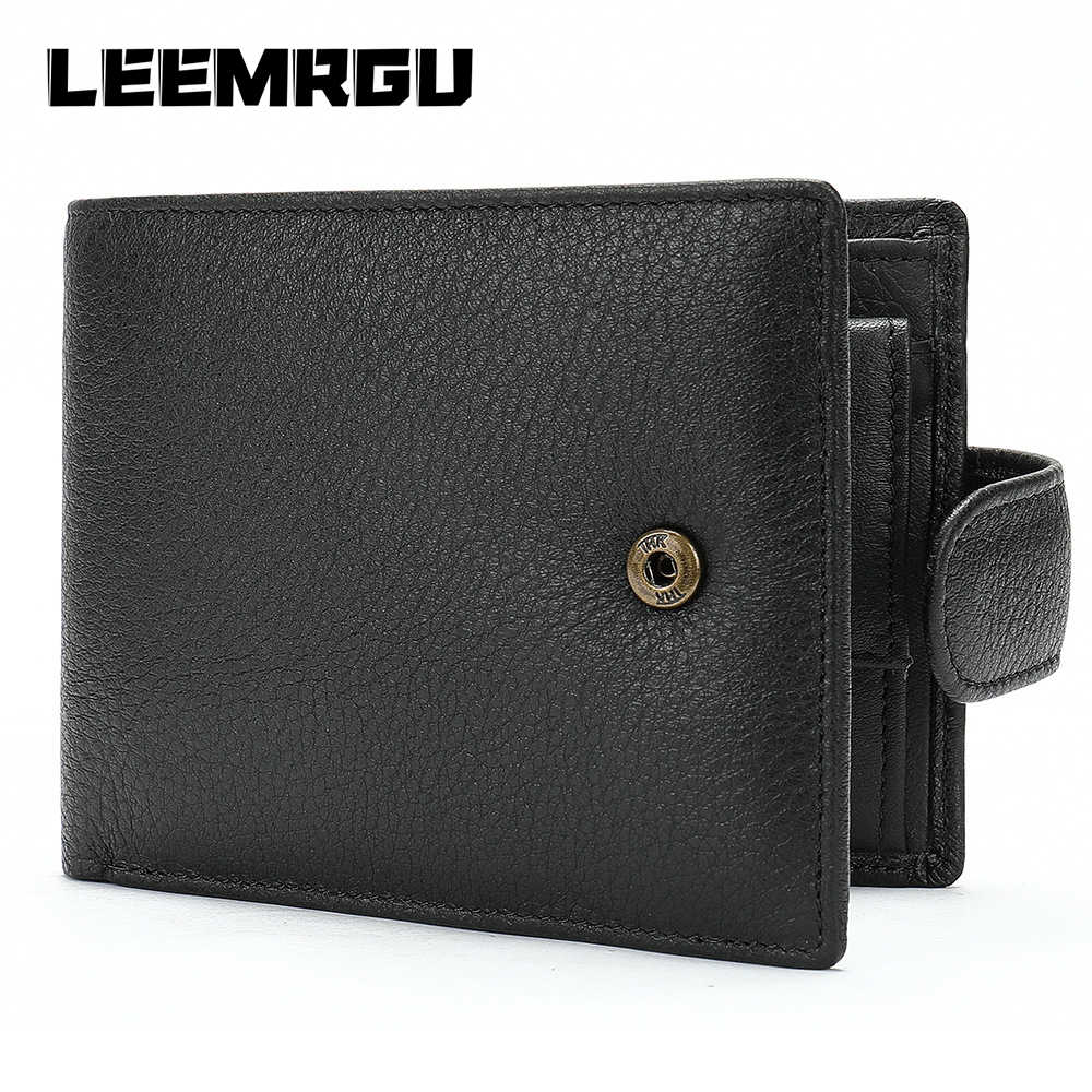 Men's leather multi-card multi-function wallet casual cross section purse soft leather dollar leather change wallet