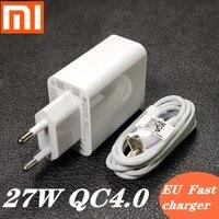 Европейское Оригинальное быстрое зарядное устройство xiaomi 27 Вт QC 4,0 адаптер с турбонаддувом usb type c для mi 9 se 9t CC9 Red mi note 7 8 pro K20 mi x 4