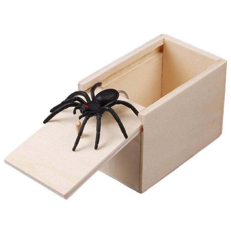 Kids Funny Toy Spider Wooden Prank Trick Practical Joke Office Scare Toy Box Gag Christmas Gift Spider Mouse Gecko